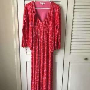 Cabi Floral Pink Red Maxi Dress Sweater Size Large